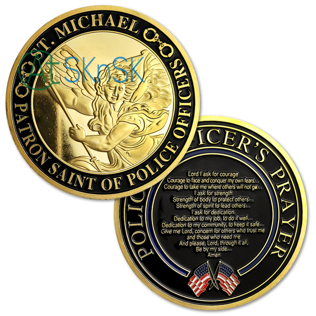 1 10pcs Newest Police Officer Prayer gold coins St  Michael medals Patron  Saint of Police Officers challenge coin collectibles -in Non-currency Coins