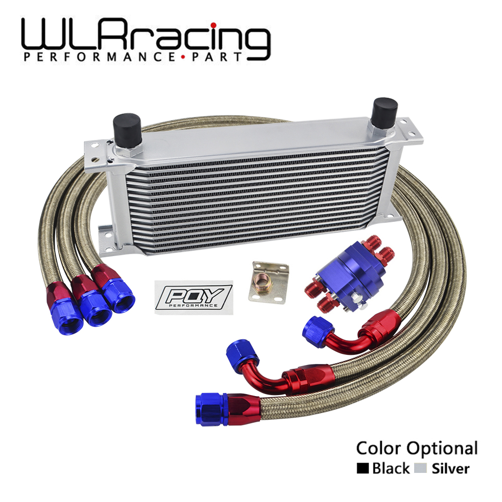 WLRING - UNIVERSAL OIL COOLER KIT 16ROWS OIL COOLER + OIL FILTER ADAPTER + NYLON STAINLESS BRAIDED HOSE WITH PQY STICKER AND BOX epman universal 10 row oil cooler kit with oil filter relocation kit for turbo race ep ok1012