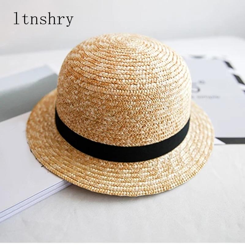 2019 New Summer Sun Hat Visor For Women Hats Child Cap Cute Baby Ribbon Dome  Short Side Straw Hat Beach Hats Fashion Quality