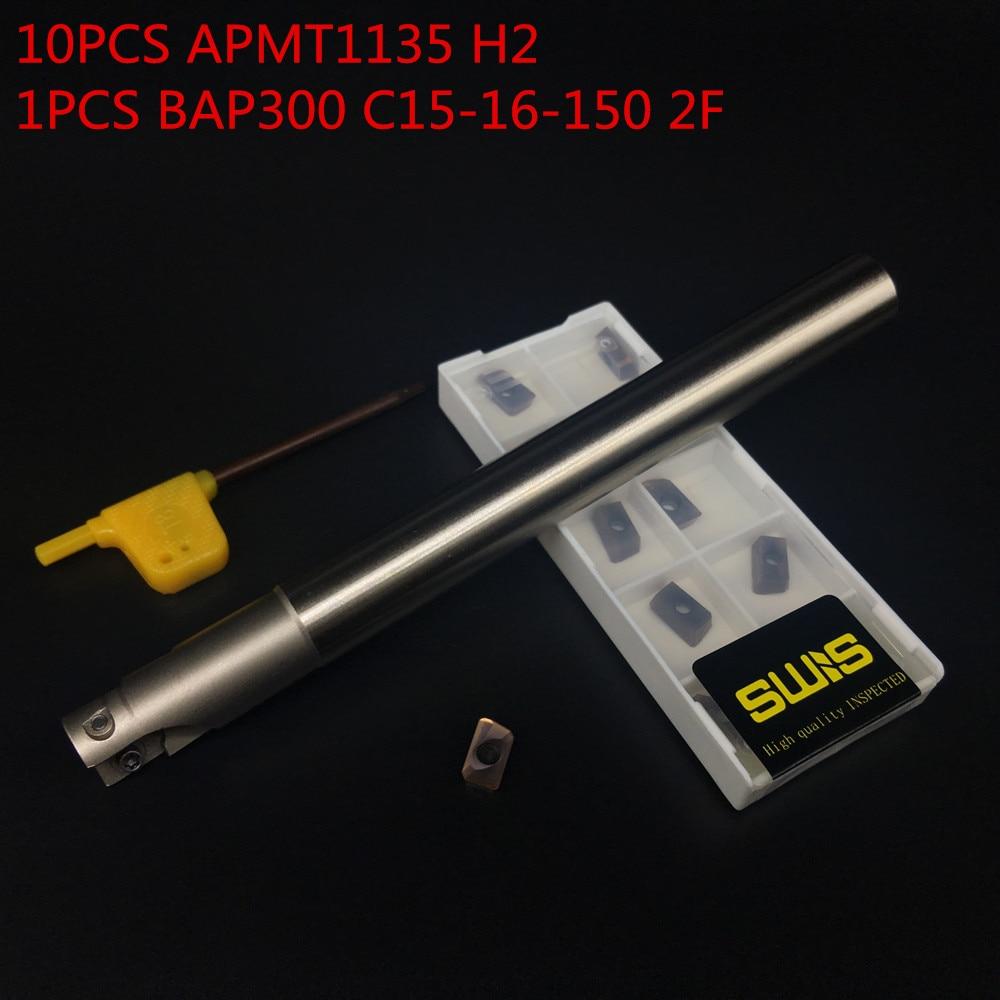 10 PZ APMT1135 H2 + 1 PZ 16mm Supporto per fresa BAP300R C15-16-150L-2F Fresa per sgrossatura Lavorazione P M K