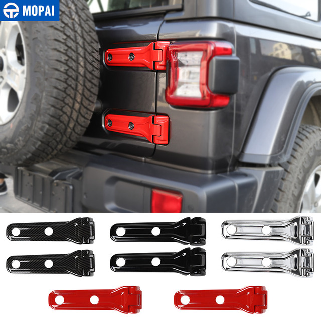 MOPAI Car Stickers for Jeep Wrangler JL 2018+ Car Tailgate Door Spare Tire Hinge Decoration Cover for Wrangler 2019 Accessories