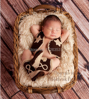 2015 New Baby Clothing Cowboy Boots And Vest Set Crochet Pattern Infant Costume Outfit Knitted Newborn