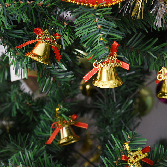 9pcs new creative christmas decorations golden red ribbon bells christmas hanging decorated enfeites de natal gift