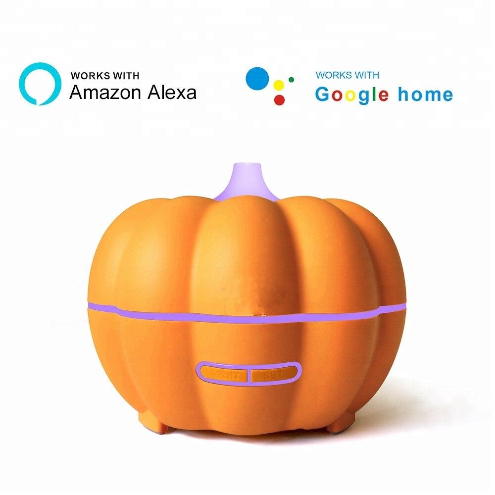 AMAZON ALEXA &GOOGLE App Aromatherapy Diffuser 350ML Natural Wood Grain Oil Aroma Diffuser Smart WIFI Ultrasonic Air Humidifier