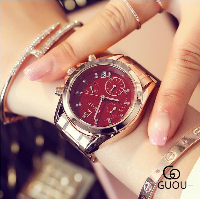 GUOU Top Luxury Diamond Watch Auto Date Rose Gold Watch Women Watches Stainless Steel Fashion Women's Watches Clock Saat Relogio