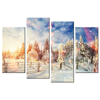 Unframed Modern Canvas Prints Art Tree In The Snow Sunrise Christmas Series Wall Art Painting For