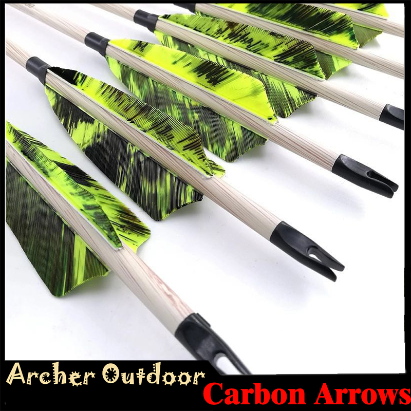 12pcs Spine 400 500 600 Carbon Arrows ID6 2mm 4 Turkey Feathers 100gr Points Compound Traditional