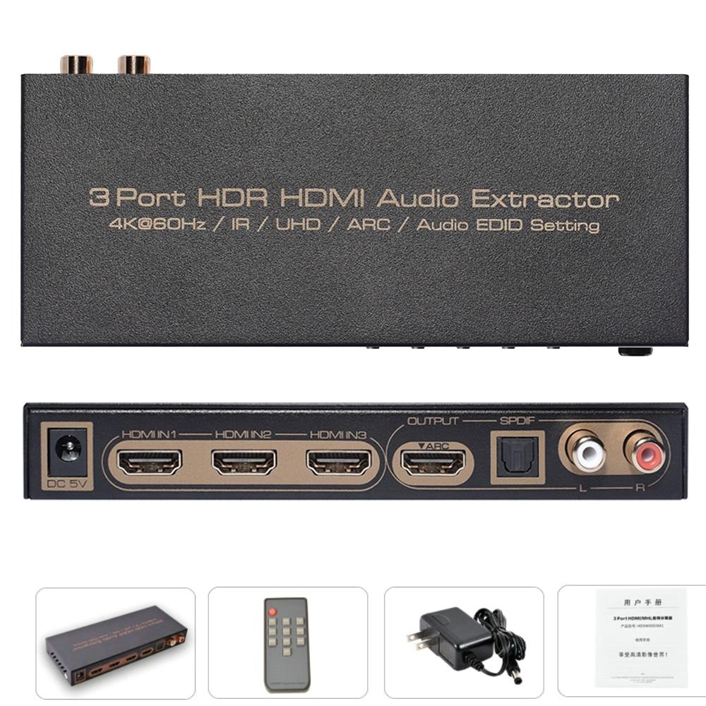 3Port V2.0 HDMI Audio Extractor ARC 3D HDR 4K UHD Digital analog Optical SPDIF L/R LPCM 7.1 HDMI 2.0 Switch With Audio Extractor 3 in 1 out hdmi audio extractor splitter 4k arc hdmi switch box selector with optical spdif