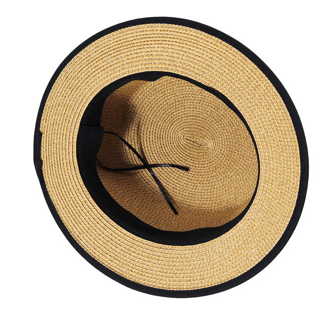 09dddc9923b Lady Boater sun caps Ribbon Round Flat Top Straw beach hat Panama Hat  summer hats for women straw hat snapback gorras