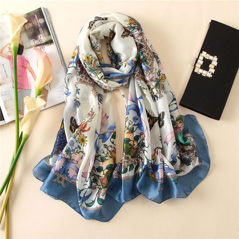 Мягкий 100% натуральный шелковый шарф для женщин Весна Осень Роскошные Синие Бабочки пашмины Обертывания и шали длинные платки 2020 Новый