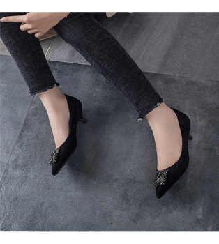 2018 new arrival Pumps Women Shoes Red Pointed Toe High Heels black color