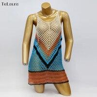 2018 New Sexy Beach Cover Up Bikini Crochet Knitted Swimwear Summer Beach Wear Hollow Out Swimsuit Cover Up Beach Dresses 4