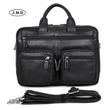 J.M.D New Arrivals Hot Selling High Quality Genuine Cow Leather Black Men's Fashion Briefcase Laptop Bag Shoulder Bag 7231A