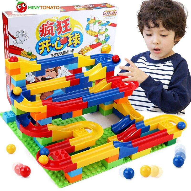 Free shipping DIY font b Construction b font Marble Race Run Maze Balls Track Plastic House