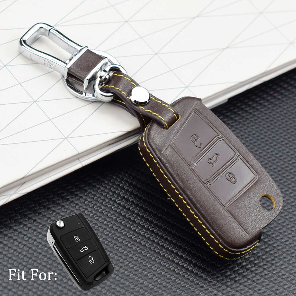 Soft Leather key fob protect cover case skin for VW Polo