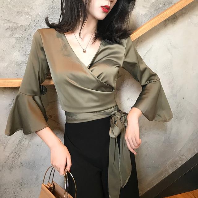 2017 women's autumn sexy v neck bandage flare sleeve satin surface plus size vintage blouse female solid long sleeve shirt tops