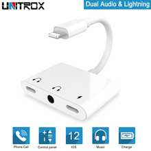 3 in 1 Audio Splitter adapter for Lightning to dual light-ning 3.5mm Headphone Jack Adapter Fast Charging iPhone X/XR/8P/7P