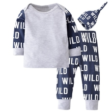 Babys Sets 2019 Spring Boys Long Sleeve T-Shirt Short Letter Print Casual Pant Hat 3 Pcs/set Clothes Set For Infant Baby