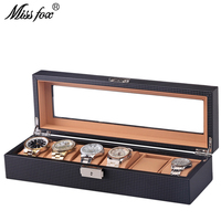 MISSFOX 6 Watch Box Luxury Version Outer Carbon Fiber Inner Brown PU Leather Stand For Hours Watch Box Watch Display Storage Box