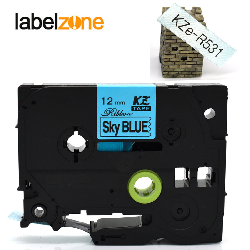Tze-R531 Satin Ribbon black on sky blue Tapes 12mm*4m compatible <font><b>Brother</b></font> p-touch printer for <font><b>pt</b></font>-d200 <font><b>d210</b></font> ribbon printer tz-R531 image