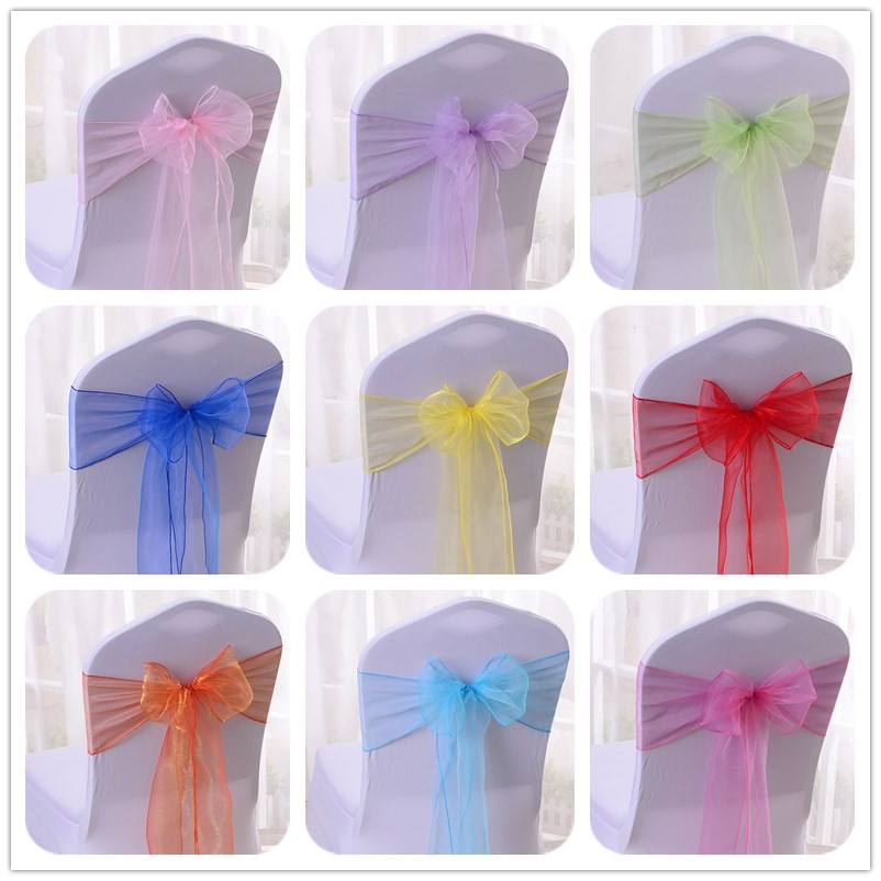 Home Textile 2019 New Style Short Ribbon Bow Bowknot Wedding Chair Cover Sashes Party Banquet Decor