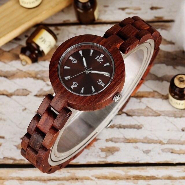 Relojes de mujer rojo Sandalwood marca superior de lujo mujer pequeño reloj de madera señoras minimalista mujer reloj de madera banda de reloj femenino