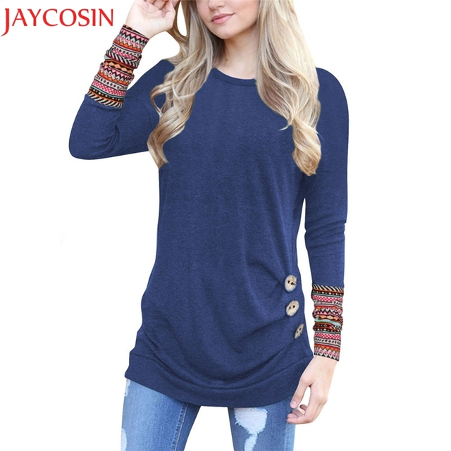 dbe29a409dc JAYCOSIN Women Long Sleeve Loose Button Trim Patchwork Round Neck Tunic  Polyester+cotton T-Shirt Gift Mar 7 Drop Ship 8.27