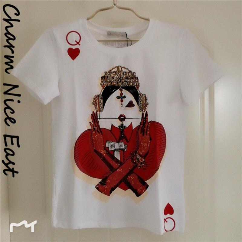2018 di Nuovo modo di t-shirt da donna O-Collo del manicotto del bicchierino di Stampa Della maglietta di Estate del cotone casuale T shirt Hot saleTops Femminile Magliette bianco