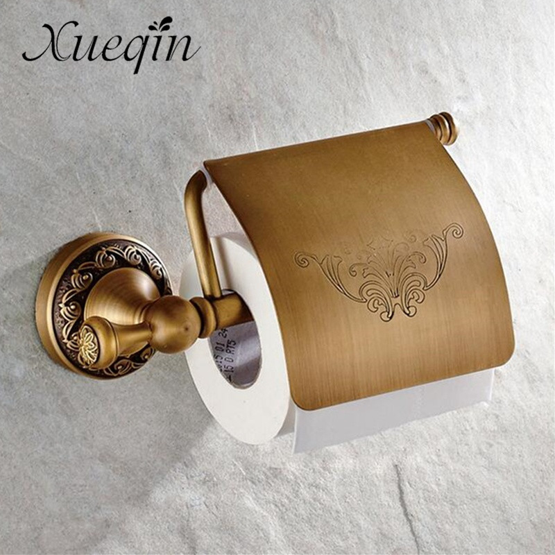 Xueqin Antique Flower Print Bathroom Toilet Paper Roll Holder Brass Wall Mounted Toilet Paper Tissue Storage Rack luxury antique brass paper rack bathroom paper holder european toilet paper box toilet accessories wall mounted