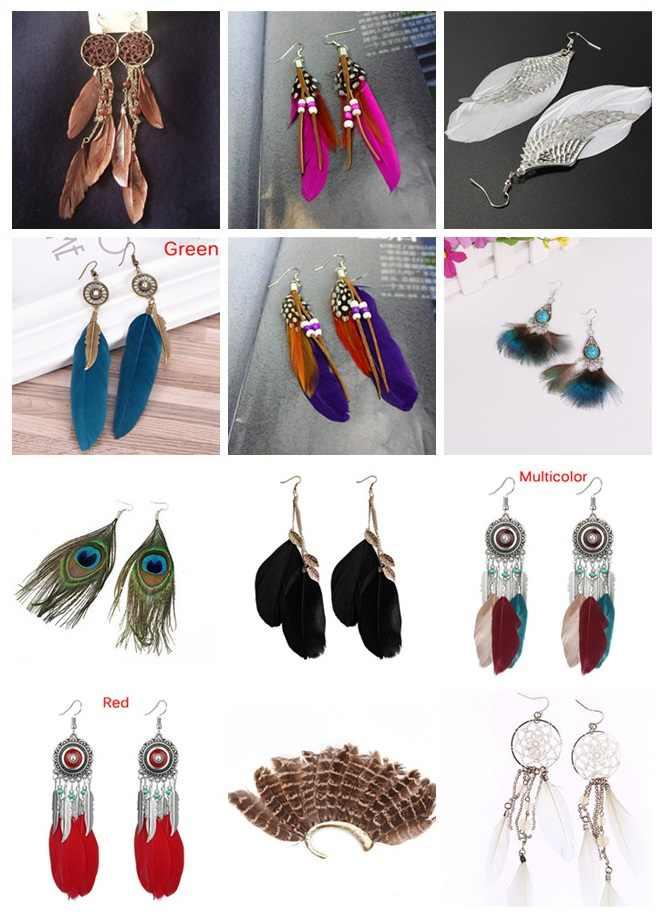 2019 ใหม่โบฮีเมีย Feather พู่ต่างหูผู้หญิงสไตล์อินเดีย Feather Charm Dangle ต่างหูเผ่า Hippie เครื่องประดับของขวัญ