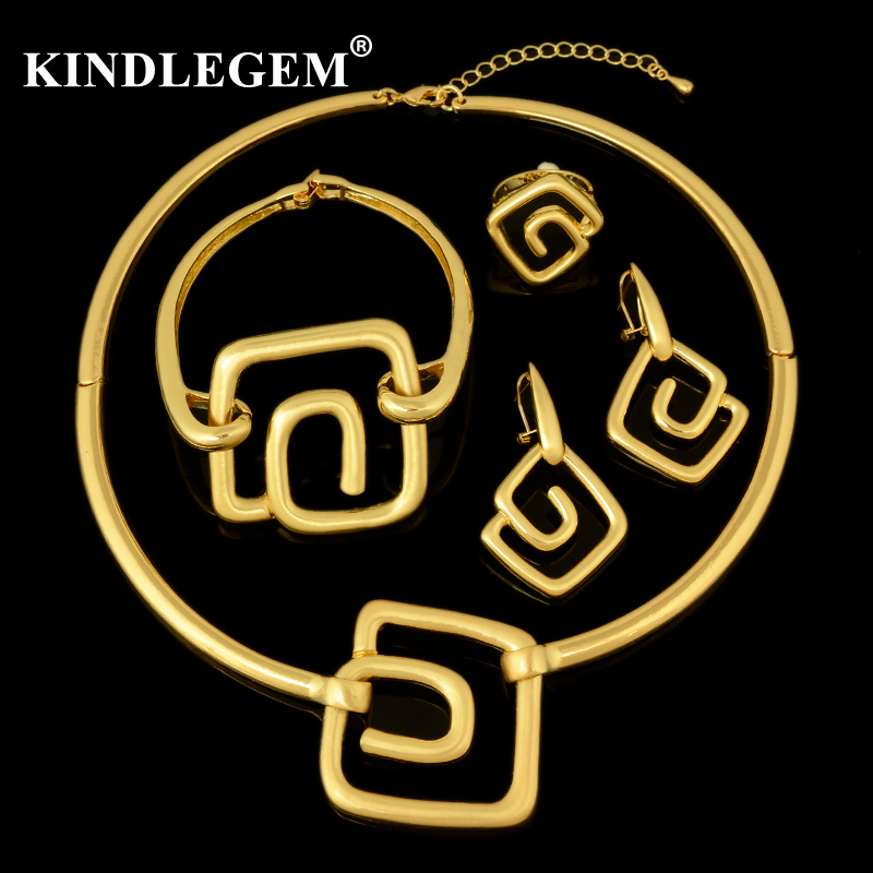 Kindlegem Brand Choker Necklace Geometric Pendant Jewelry Set In Dubai African Women's Charms Gold 585 Costume Mariage Bijoux flower geometric bar choker necklace set