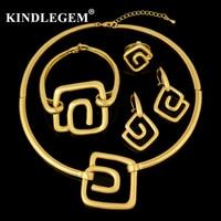 Kindlegem Brand Choker Necklace Geometric Pendant Jewelry Set In Dubai African Women's Charms Gold 585 Costume Mariage Bijoux