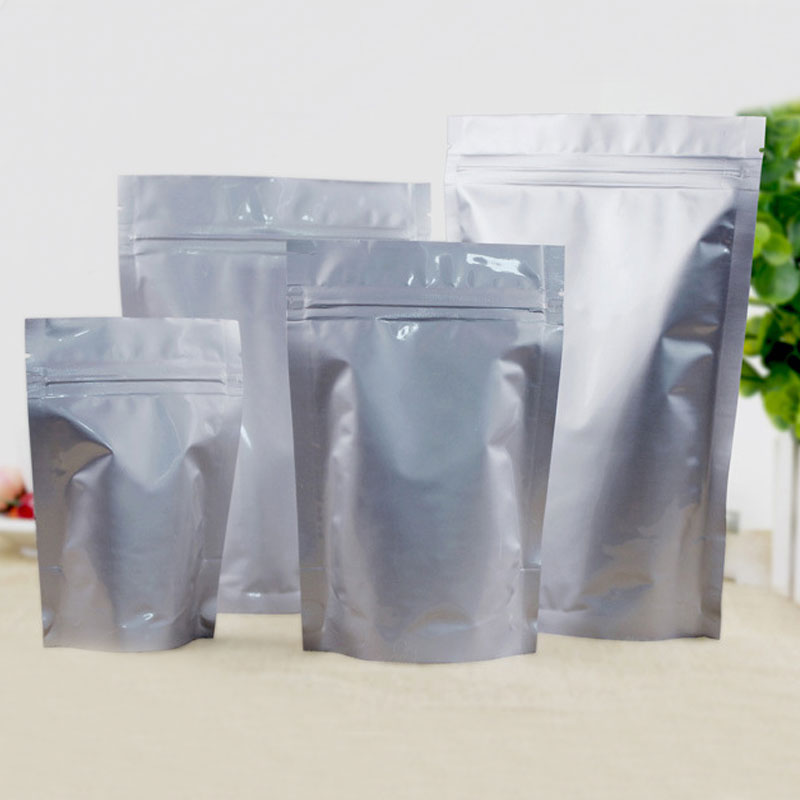 100pcs stand up aluminium foil zip lock bag silvery metallic plastic packaging pouch for food tea