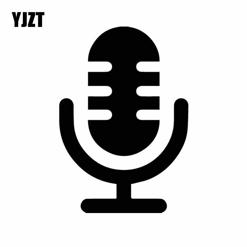 YJZT 10.3CM * 15CM basit sevimli mikrofon logosu vinil çıkartması dekor araba Sticker siyah/gümüş C27-0316