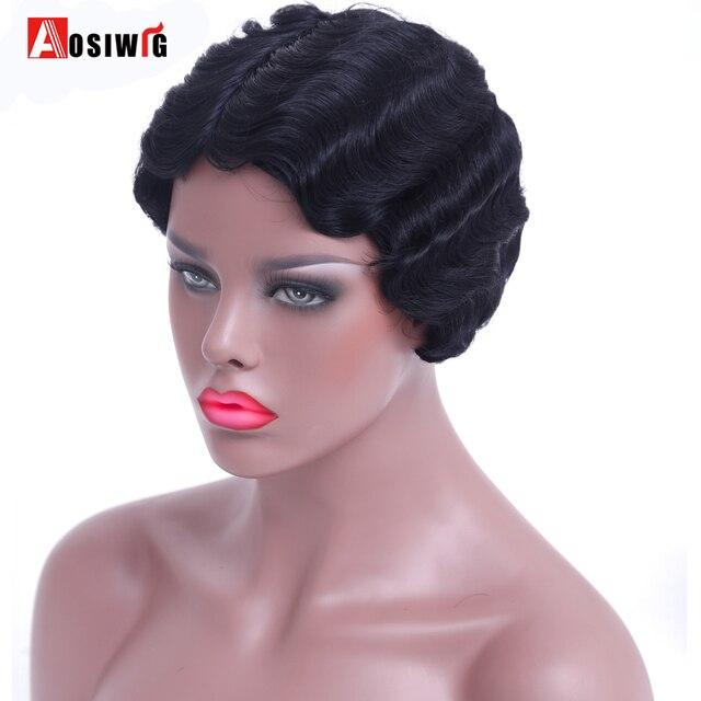 AOSIWIG Courts Bouclés Noir Mignon Perruque pour les Femmes Noires Africaines Afro Cheveux Synthétiques Perruques Pour Les Femmes Noires Cheveux Courts 3