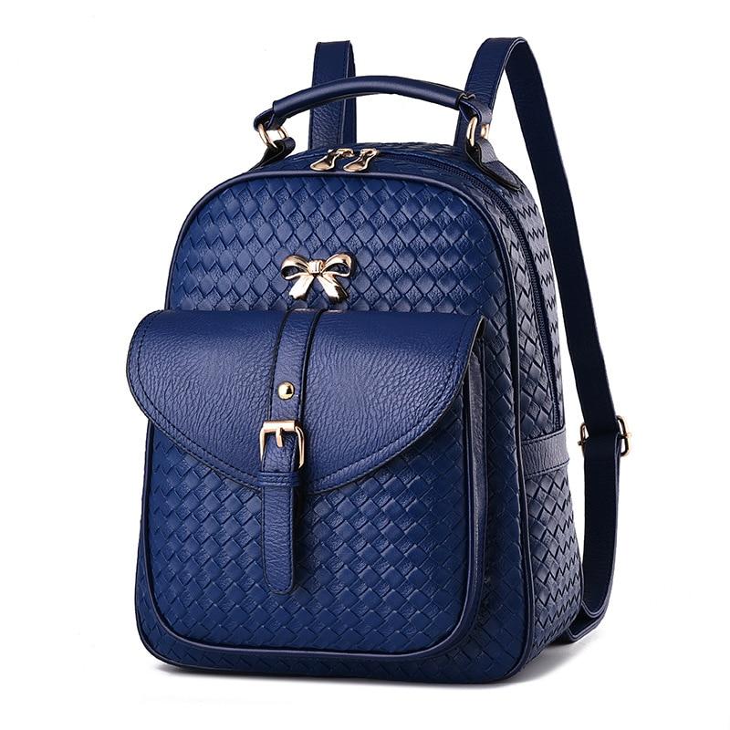 2017 Fashion Bow Rivet Women Backpacks Small PU Leather Cute Lady Backpack Fashion Knitting Girls School Shoulder Bags Blue Red trefl набор пазлов тачки 2 70 100 деталей trefl