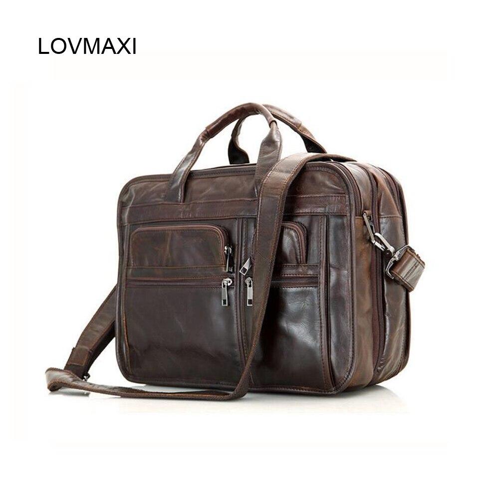 Mens Genuine Vintage Brown Leather Messenger Bag Shoulder Laptop Bag Briefcase,,