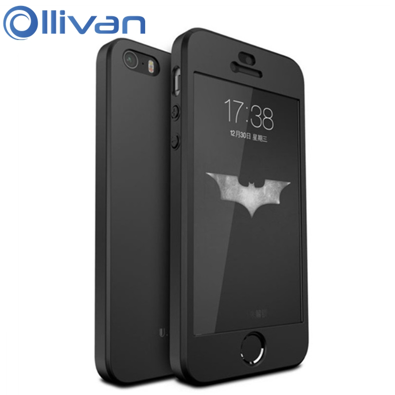 Original OLLIVAN 3in1 Case For Iphone 5S Case Full Screen Protection Hard PC Cover for iphone 5s 5 SE with Tempered Glass Film