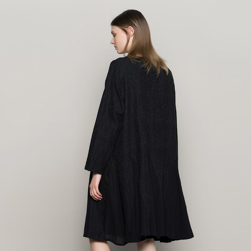 Lâche G173y014 Noir Jiqiuguer A Coton Lin Black O ligne Lady Broderie Vintage Occasionnels cou Long Robe Robes Femmes Solide Printemps qffUxwA7