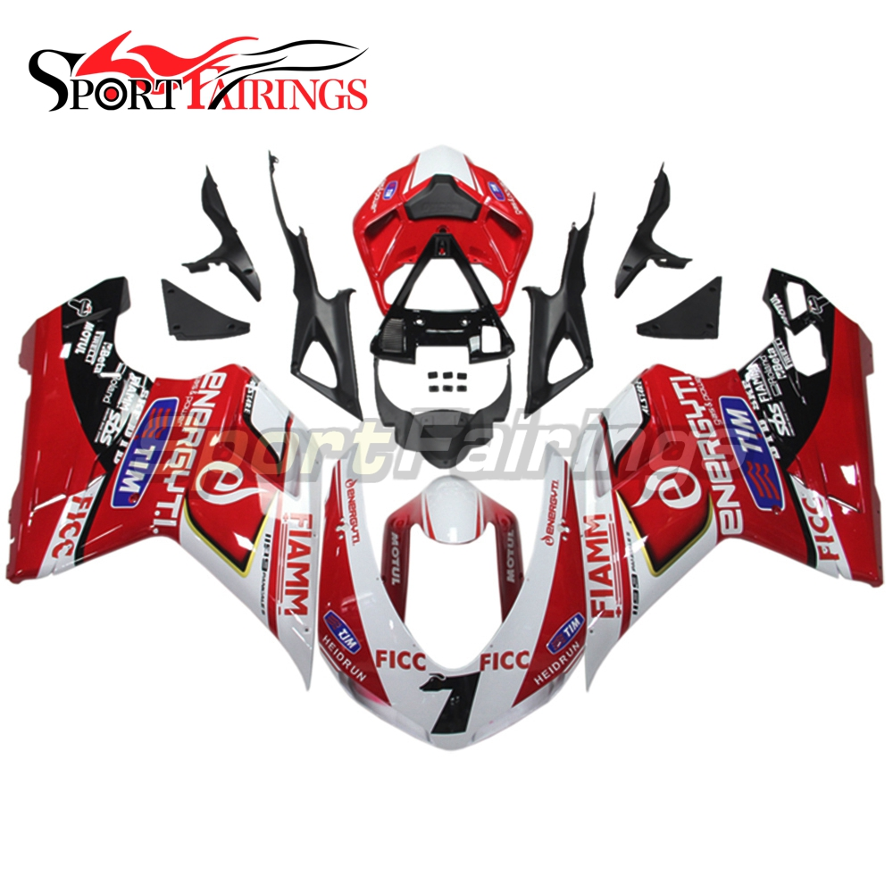 Complete Injection ABS Motorcycle Fairings For DUCATI 1198 1098 1098s 848 07-12 2007 2008 2009 2010 2011 2012 Red White 7 Cowls