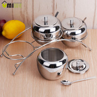 Kitchen Spice Jar Set Pot Stainless Steel Jars Containers Condiment Seasoning Storage Box With Spoon Kitchen