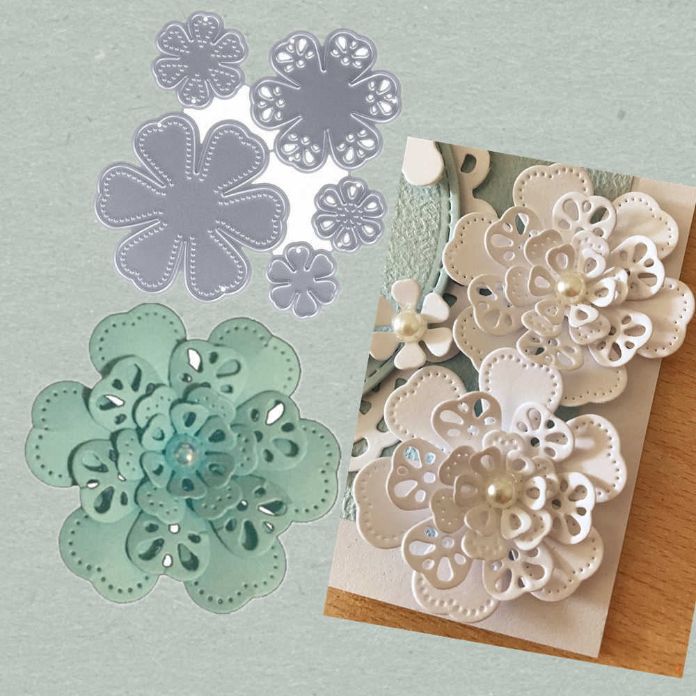 Flowers Metal Stencil Cutting Dies Embossing 3D DIY Scrapbooking Craft Die Photo Invitation Cards Decoration 79*80mm