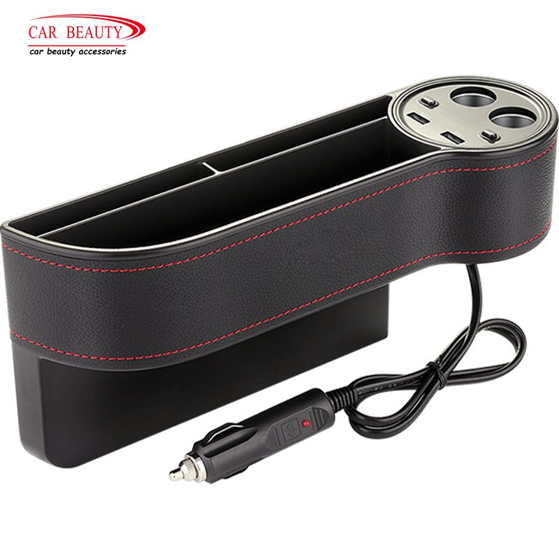 Multi Function ABS Car Seat Crevice Storage Box Organizer with Dual USB Charging Port Gap Pocket Coin Case Card Phone Holder car air vent outlet plastic phone card holder automobiles mobilephone hanging pocket storage box pouch car supplies