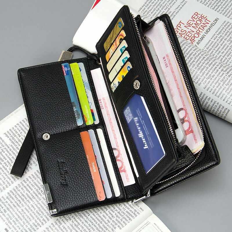 Baellerry Business skórzany portfel męski z etui na telefon etui na pokrowiec na karty męski torebka męska kopertówka