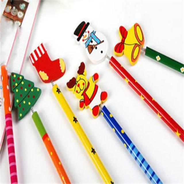 6PCS Creative  Children Stationery Pencil Korean Wooden School Desk Use Christmas Drawing Writng Pencil Standard Pencil 5