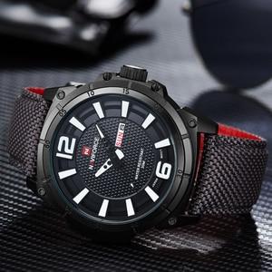 Image 2 - NAVIFORCE Top Marke Militär Uhren Männer Mode Casual Leinwand Leder Sport Quarz Armbanduhren Männlich Uhr Relogio Masculino