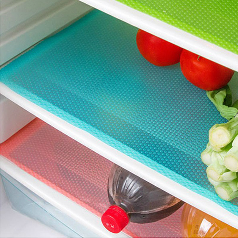 4PCS Refrigerator Waterproof Mats For Kitchen Table Pad Antibacterial Mildew Moisture Absorption Fashion Non-slip Pads
