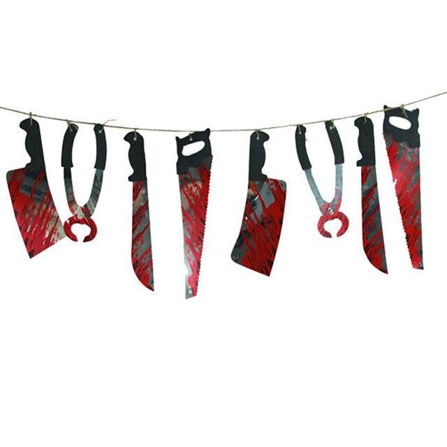 Жуткий хэллоуин ну вечеринку дом с привидениями висячие гирлянда вымпел баннер украшения H3240