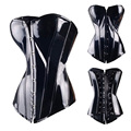 Black Waist slimming Corset Lace Up Overbust Sexy Faux Leather PVC Corsets And Bustiers Steampunk Corselet TYQ