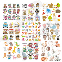 DIY Heat Transfer Patches Cute Animals Set Iron-on Patches For Clothing Children T-shirt Decoration Heat Press Appliqued Sticker flyingbee diy heat transfer patches weird thing iron on patches for clothing t shirt decoration heat press appliqued x0657